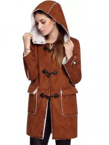 Brown Plain Buttons Fashion Hooded Long Sleeve Vintage Coat