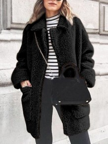 Black Patchwork Pockets Turndown Collar Long Sleeve Fashion Coat