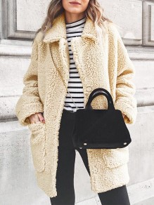 Beige Patchwork Pockets Turndown Collar Long Sleeve Fashion Coat