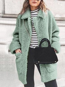 Light Green Patchwork Pockets Turndown Collar Long Sleeve Fashion Coat