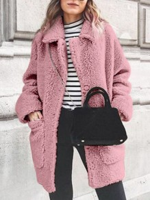 Pink Patchwork Faux Fur Pockets Turndown Collar Long Sleeve Fashion Teddy Bear Coat