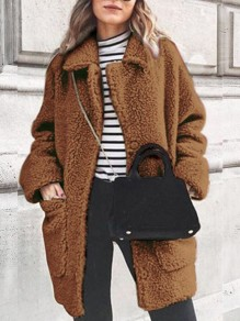 Brown Patchwork Pockets Turndown Collar Long Sleeve Fashion Coat