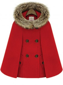 Red Patchwork Fur New Fashion Latest Women Hooded Vintage Wool Cape