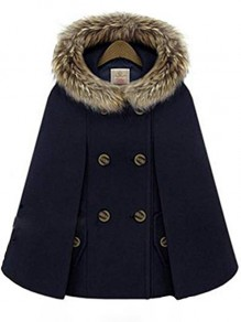 Navy Blue Patchwork Fur New Fashion Latest Women Hooded Vintage Wool Cape