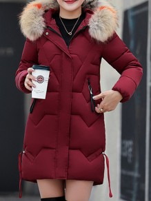Date Red Patchwork Fur Hooded Long Sleeve Fashion Padded Coat