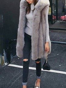 Grey Patchwork Faux Fur Comfy Sleeveless Hooded Fashion Outerwear