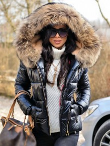 Black Patchwork Fur Hooded Long Sleeve Fashion Fur Padded Coat