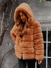 Khaki Patchwork Faux Fur Hooded Long Sleeve Fashion Outerwear