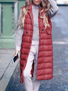 Red Patchwork Pockets Turndown Collar Sleeveless Fashion Padded Coat