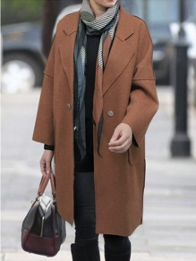Coffee Patchwork Buttons Plus Size Turndown Collar Fashion Wool Coat