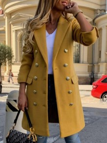 Yellow Patchwork Pockets Buttons Turndown Collar Long Sleeve Fashion Outerwear