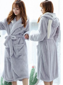 Grey Rabbit Embroidery Belt Hooded Long Sleeve Cute Coat