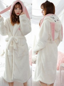 White Rabbit Embroidery Belt Hooded Long Sleeve Cute Coat