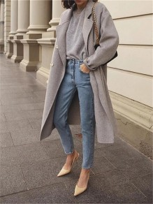 Grey Patchwork Buttons Turndown Collar Long Sleeve Fashion Wool Coat