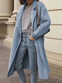 Light Blue Patchwork Buttons Turndown Collar Long Sleeve Fashion Wool Coat