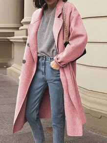 Pink Patchwork Buttons Turndown Collar Long Sleeve Fashion Wool Coat