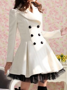 White Patchwork Lace Double Breasted Vintage Turndown Collar Long Sleeve Elegant Peacoat Coat Outerwear