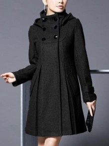 Black Patchwork Pockets Buttons Vintage Hooded Long Sleeve Fashion Outerwear