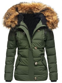 Army Green Patchwork Buttons Pockets Fur Hooded Long Sleeve Fashion Outerwear