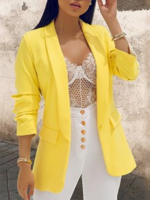 Yellow Buttons Tailored Collar Fashion Outerwear