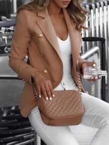 Khaki Double Breasted Turndown Collar Long Sleeve Fashion Blazer Coat