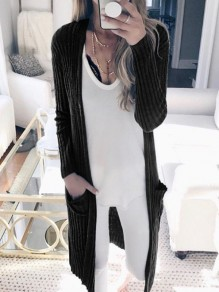 Black Ombre Long Sleeve Fashion Outerwears