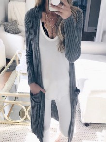 Grey Ombre Long Sleeve Fashion Outerwears