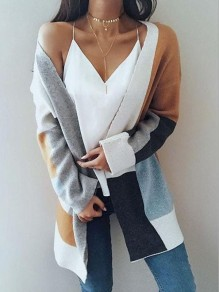 Grey Color Block Pockets Others Long Sleeve Fashion Cardigan Sweater