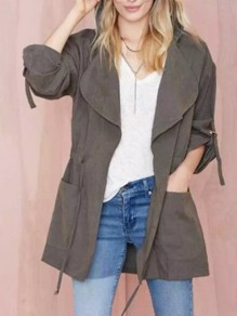 Grey Patchwork Drawstring Pockets Long Sleeve Fashion Casual Cardigan Outerwears