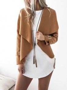 Camel Patchwork Studded Others Long Sleeve Fashion Outerwears