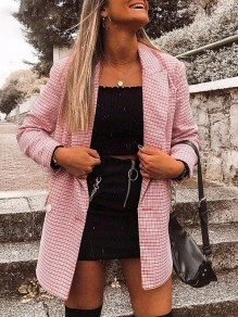 Pink Patchwork Print Others Long Sleeve Fashion Outerwears