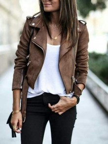 Brown Zipper Pockets Belt Suede Long Sleeve Fashion Coat