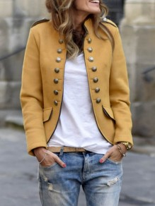 Khaki Double Breasted Pockets Band Collar Long Sleeve Preppy Blazer Coat