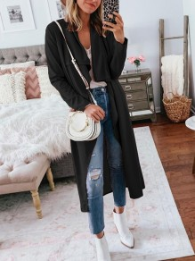 Black Irregular Bodycon Comfy Long Sleeve Going out Outerwears