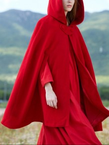 Red Buttons Hooded Sleeveless Cosplay Fashion Cape Cardigans Wool Trench Coat