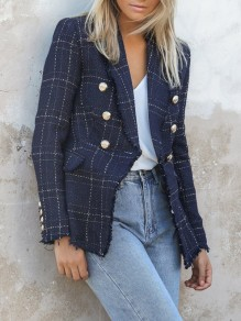 Navy Blue Plaid Print Pockets Double Breasted Long Sleeve Blazer Coat
