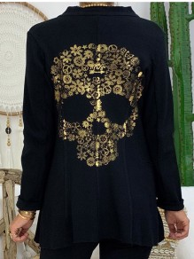 Black Patchwork Skull Bodycon Comfy Ttrendy Going out Outerwears