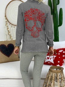 Grey Patchwork Skull Bodycon Comfy Ttrendy Going out Outerwears