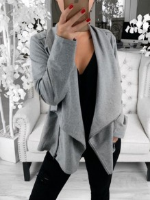 Grey Zipper Comfy Long Sleeve Ttrendy Going out Casual Sweatshirt Coat