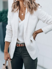 White Pockets Turndown Collar Long Sleeve Fashion Elegant Work Blazer Coat