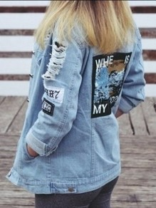 Hellblau WHERE IS MY MIND Buchstaben Einreiher Zerrissene Langarm Boyfriend Oversize Jeansjacke Damen Mode