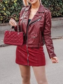 Perfecto veste en simili cuir mode femme jacket bordeaux