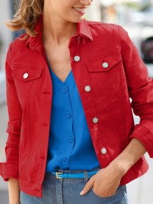 Red Patchwork Pockets Turndown Collar Long Sleeve Fashion Denim Coat