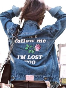 Blue Letter Print Denim Turndown Collar Long Sleeve Fashion Outerwear