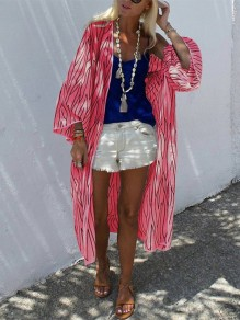 Red Striped Print 3/4 Length Sleeve Fashion Outerwear