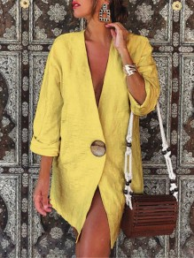 Yellow Patchwork Buttons V-neck Fashion Linen Cotton Outerwear