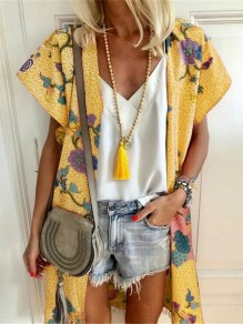 Yellow Floral Print V-neck Fashion Cardigans Outerwear