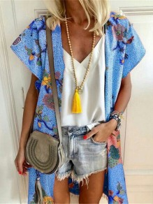 Blue Floral Print V-neck Fashion Cardigans Outerwear