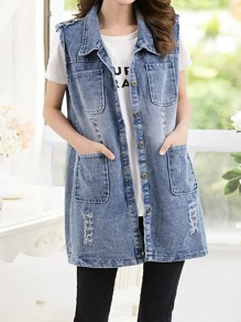 Blue Patchwork Pockets Buttons Turndown Collar Sleeveless Fashion Jeans Outerwear