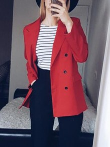 Red Pockets Double Breasted Tailored Collar Long Sleeve Going out Coat